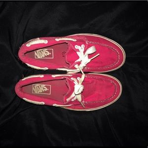 Pink slip on vans shoes with laces